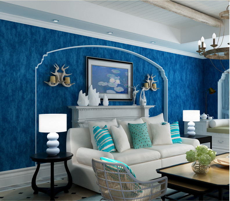 Simple Mediterranean style dark blue wallpaper pure color color bedroom full of living room ...