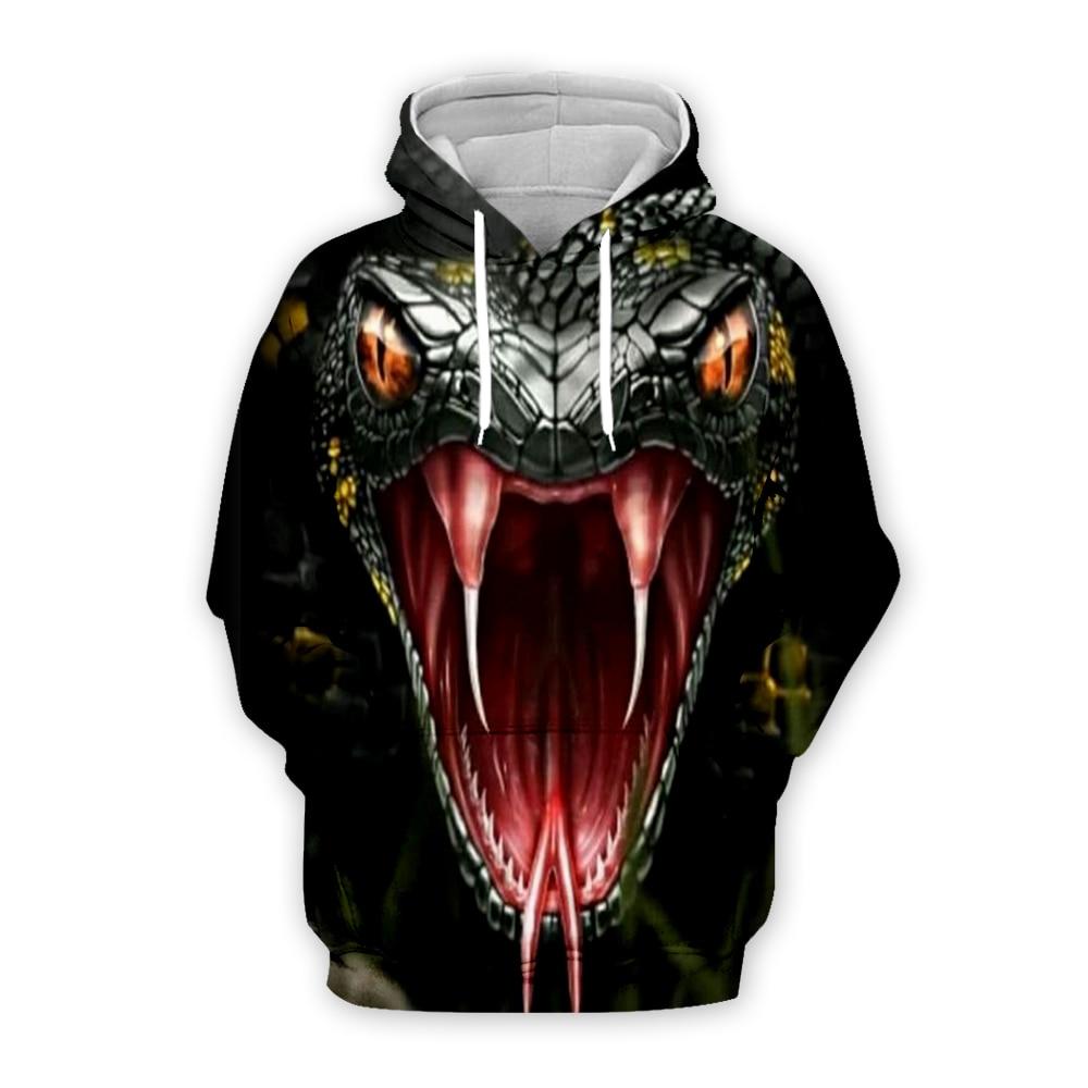 Animal Cobra Harajuku Black Coat Open Mouth Snake 3D Print Hoodies Men Women Sweatshirts Novelty Serpent Unisex Casual Jacket
