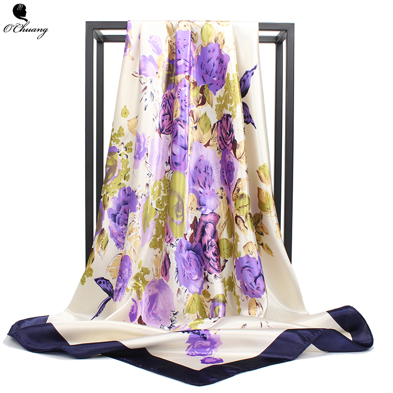O CHUANG Silk   Scarf   Spring Summer Flowers Printe brand foulard soie Women Shawl Square Head   Scarves     Wraps   90x90cm