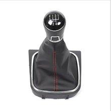 MT gałka zmiany biegów dla volkswagena VW Golf 5 6 Golf5 Golf6 dźwignia zmiany biegów dźwignia zmiany biegów kij skórzany Gaitor Boot podstawa rama Arm Pen tanie tanio sktoo Gear Shift Knob + Base Frame + Leather Cover Manual Gear Shift Knob for VW GOLF 5 6 0 3kg ABS Plastic + PU Leather + Rubber Gel