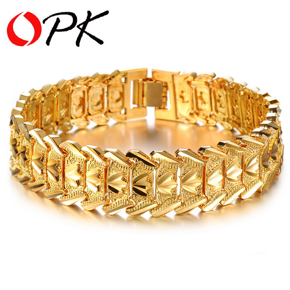 OPK Gold Color Charm Man Bracelets & Bangles Classical 16.5mm Width Chunky Link Chain Personality Men Jewelry DM401