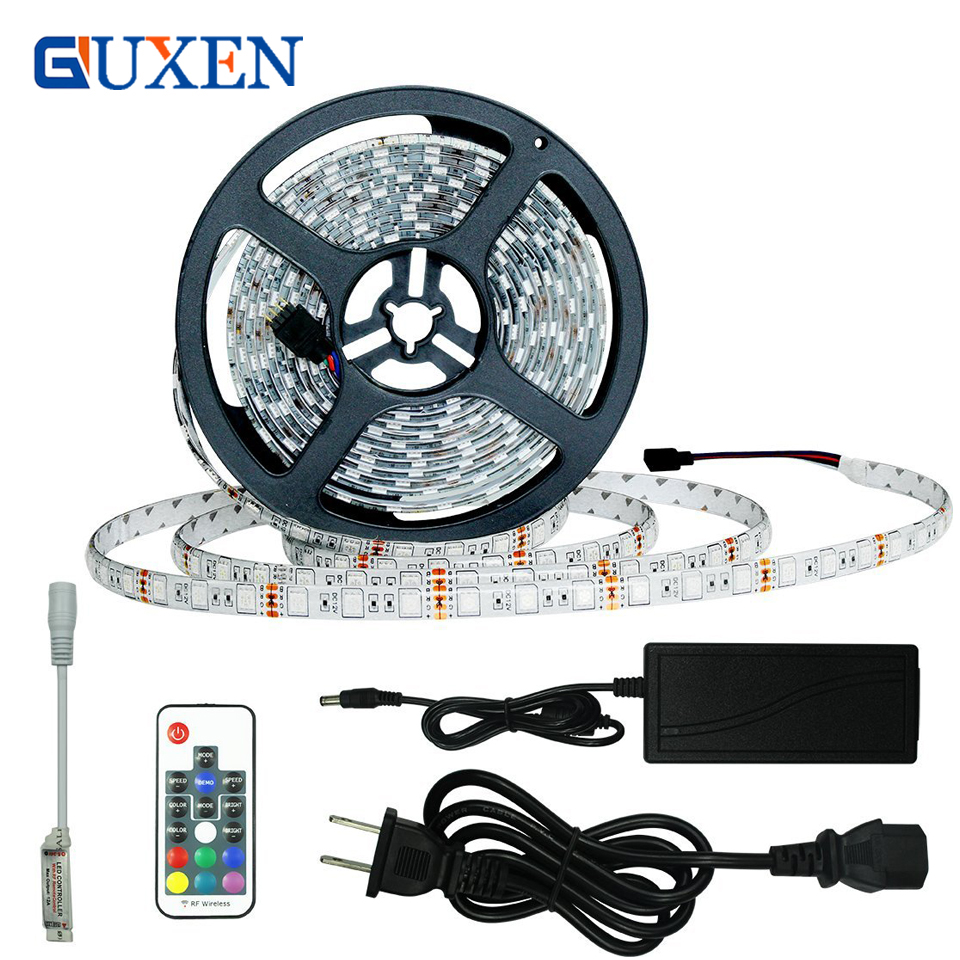 GUXEN SMD5050 300 leds IP65 Waterproof RGB Flexible LED Tape Lights with DC12V Power Supply and 17Keys RF Wireless Remote