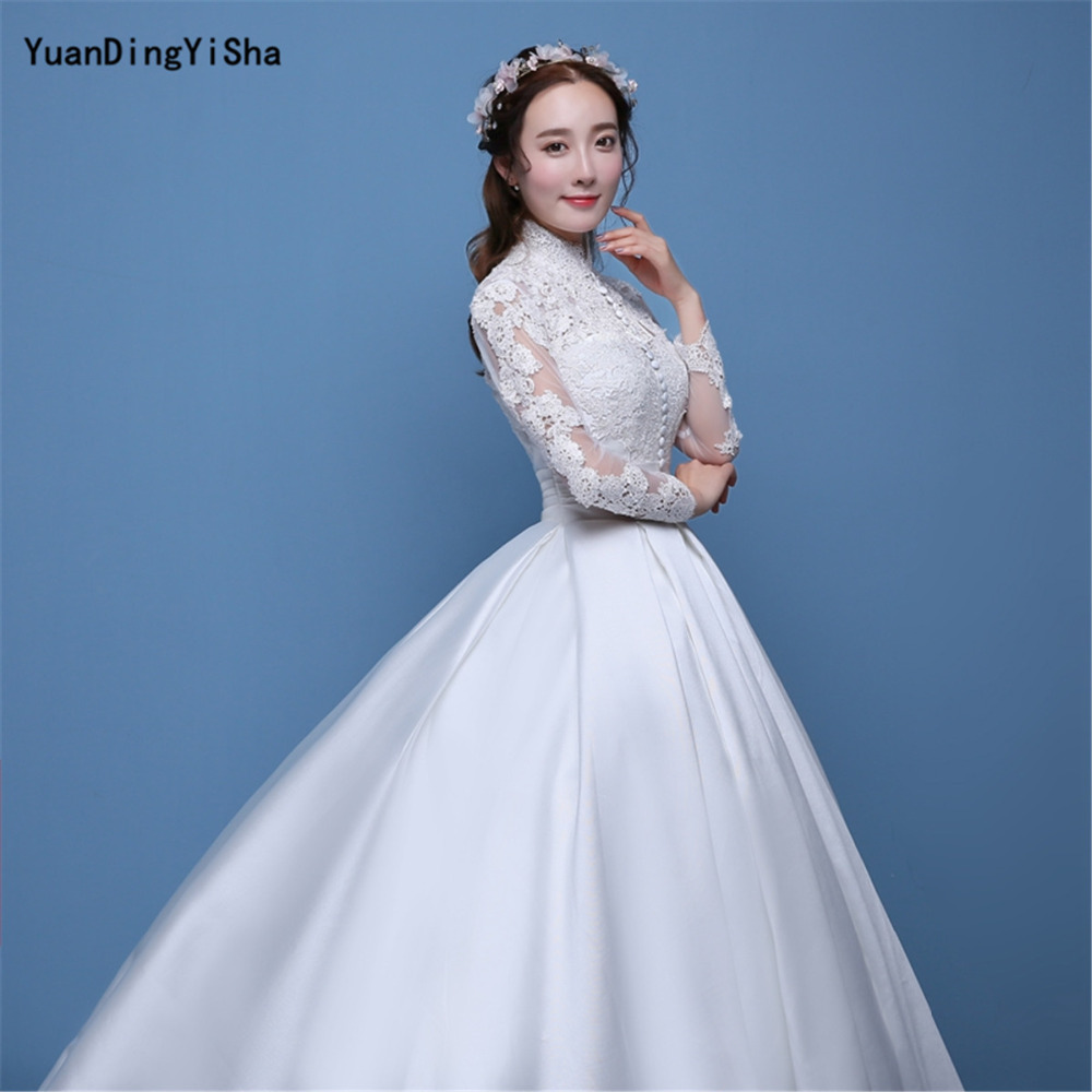 Real Photos A line Wedding Dress 2017 Lace And Satin Vestido De ...