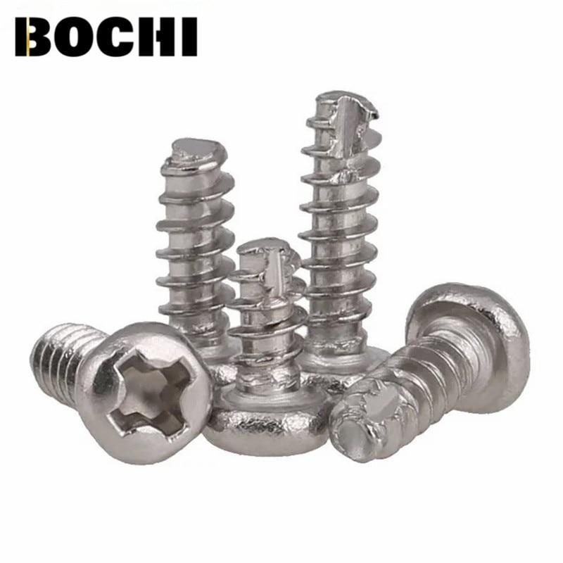 GB/T818 50PCS 304 stainless steel round head phillips coss notching cut tail self tapping screws M2 M2.3 M2.6 M3 screw niko 50pcs chrome single coil pickup screws