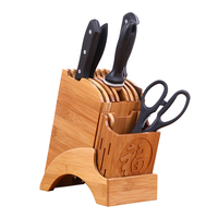 Creative Chinese Style Wooden Knife Holder Knife Block Tool Multifunctional Holes Storage Stand Bamboo Kitchen Supplies