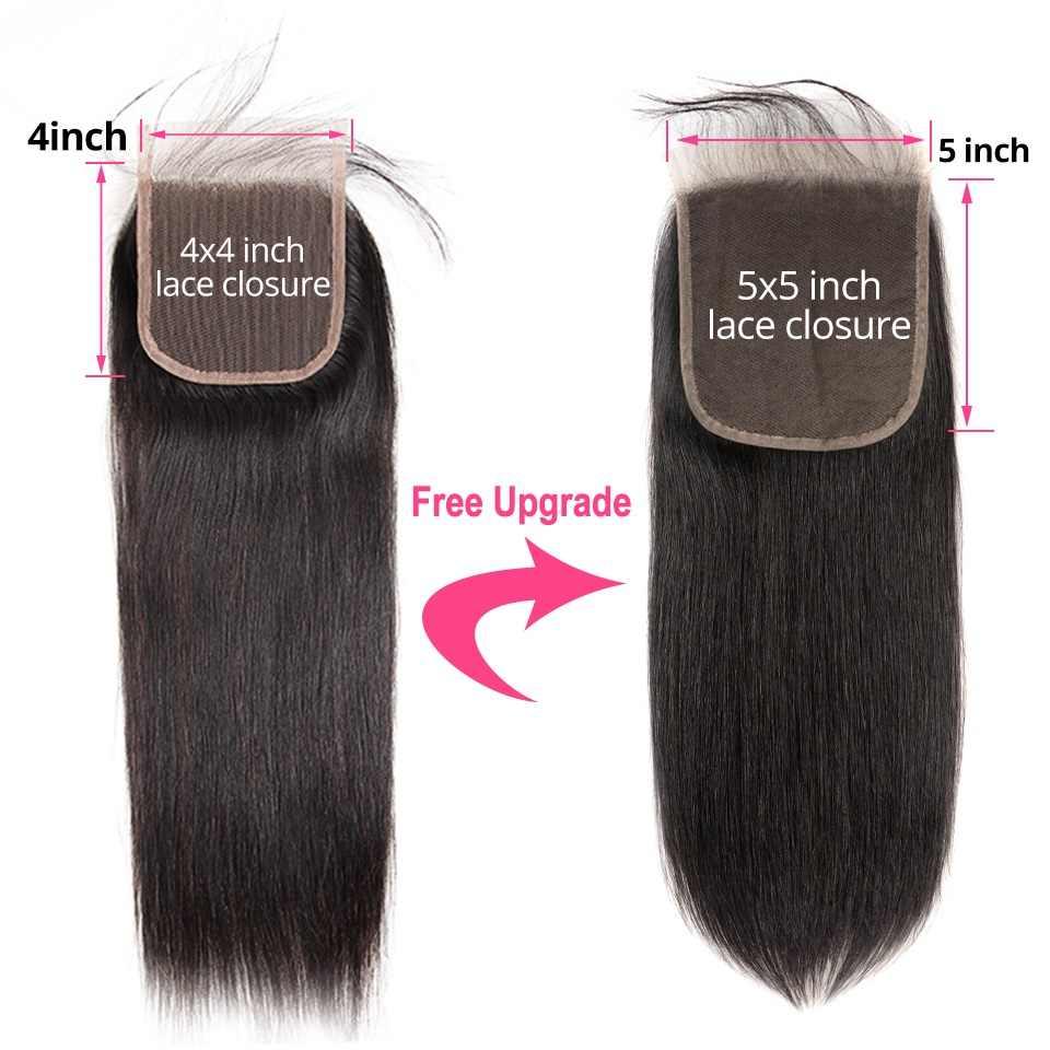 Pelo de aliperla pelo humano recto 3 paquetes con cierre de 5x5 paquetes de armadura de cabello brasileño pelo Remy de Color Natural extensión