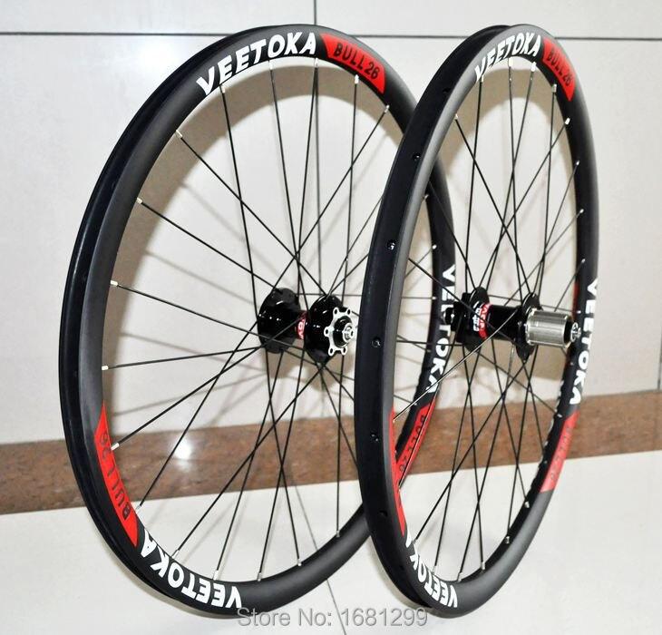 Newest VEETOKA light 26 inch 30mm clincher rims Mountain bicycle matt UD full carbon fibre bike wheelsets 26er MTB parts цена