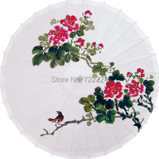 Free shipping dia 84cm chinease traditional oiled paper umbrella with peony drawing as decoration gift dace props collection [randomtext category=