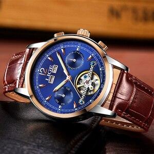 Image 5 - Moda feminina relógios de marca superior luxruy lige relógio automático mulher à prova dwaterproof água relógio esporte senhoras couro negócios relógio de pulso