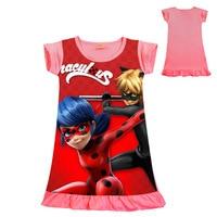 Girl Cartoon Ladybug Print Dress Baby Kids A Line Short Sleeve Cotton Dress Summer New Girls