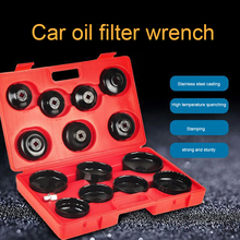 14pcs Iron Cap Type Oil Grid Wrench Set With Box Car Oil Filter Cap Wrench Socket Wrench Universal Car Repair Tool Filter Wrench honda nissan oil filter wrench wr 63mm oil filt end cp 14pt