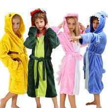 Купить с кэшбэком Boys Girls Sleepwear Pajamas Kids Dinosaur Robes Pokemon Pikach Children's Bathrobe Flannel Hoodie Robe Enfant Clothes for 4-12T