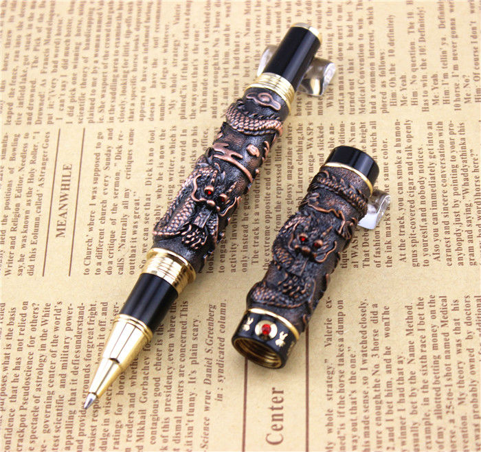 JINHAO ballpoint Pen School Office Stationery high quality dragon roller ball pens luxury business gift send a extra refill 005 black jinhao free shipping fountain pen high quality pens business gift school office supplies send friend father teacher 003