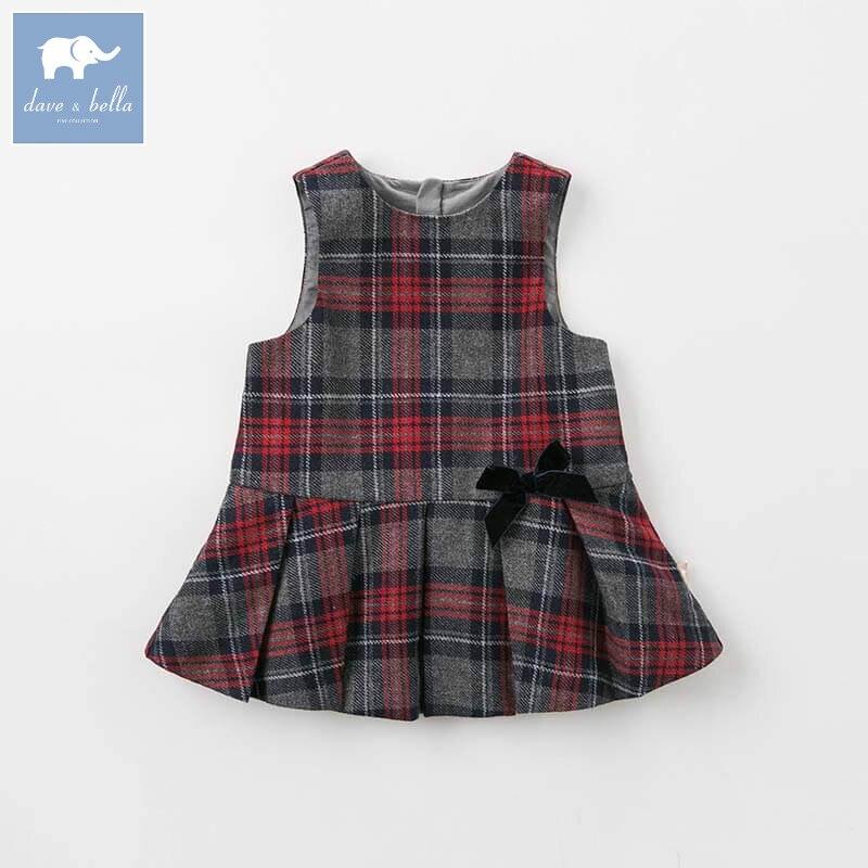 DBZ8400 dave bella осень шерстяное платье для маленьких девочек платья без рукавов дети платье для дня рождения детская одежда в клетку 1 шт.