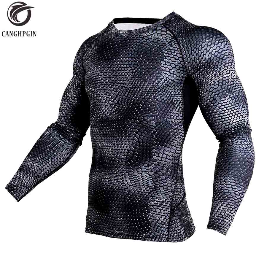 New Running Shirt Compression Tights Men Quick Dry Long Sleeves Sport Shirt Men MMA Rashgard Snake Fitness Soccer Jersey Gym Top classic plaid pattern shirt collar long sleeves slimming colorful shirt for men