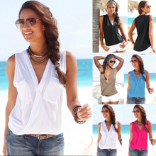 2019 Summer Sexy Women Vest Double Pocket Stitching Deep V collar Sleeveless T-shirt Solid Color Women