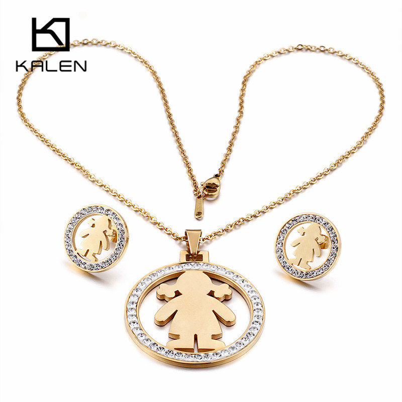 Online Shop Kalen Cute Stainless Steel Gold Color Little Girl ...