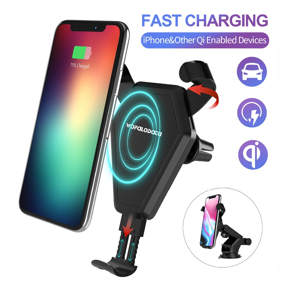 Fast Wireless Car Charger Stand, Wofalo Car Mount Air Vent Phone Holder Cradle for iPhone 8/8 Plus/X Only(7.5W)