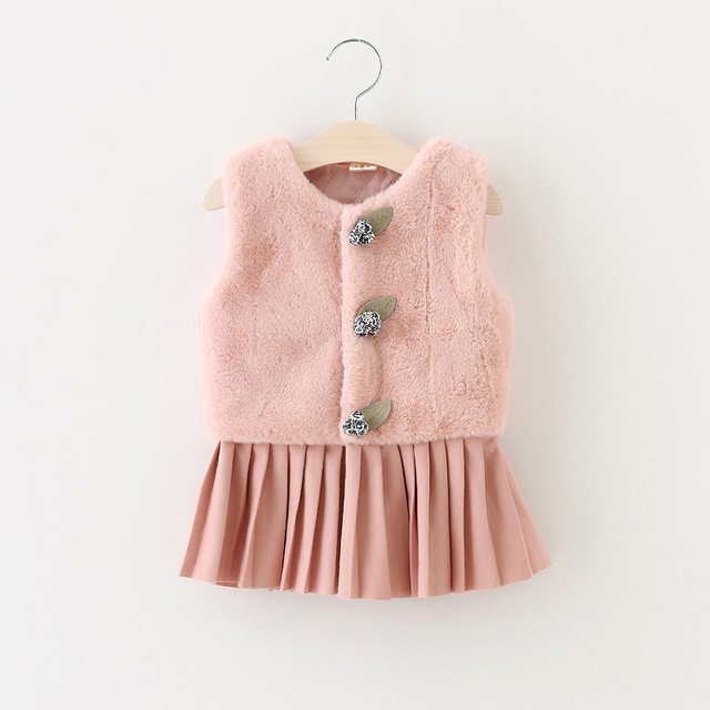 Varejo/atacado 2016 inverno roupas de bebê sólidos crianças da pele do falso colete jaqueta colete linda princesa das meninas do bebê recém nascido