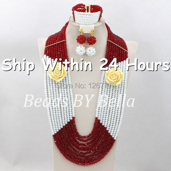 Latest Design Solid White&Red Crystal Beads Necklace Set Women Costume Jewelry Set Chunky Layered Set Free Shipping ABC583 retro style moon star sun layered necklace set for women