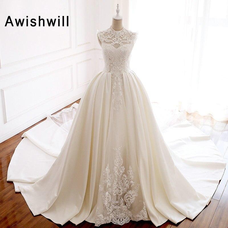 Vestido de Noiva 2019 Satin Vintage Wedding Gowns Beadings Lace A-line Chapel Train Princess Bridal Wedding Dresses Elegant