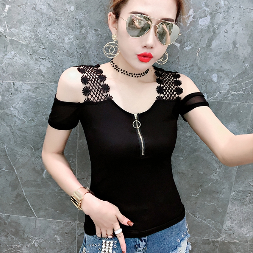 Sexy Lace Patchwork Off Shoulder Sleeve Tshirt 2019 New Summer Women Short Sleeve O-Neck Zipper Top Camiseta Mujer T94131L