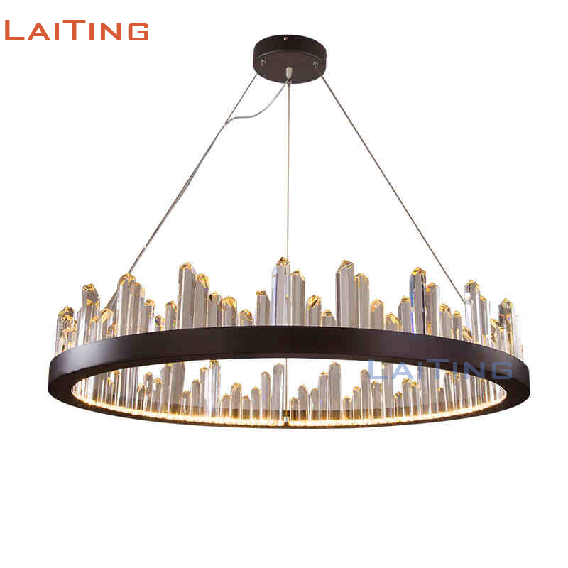 Us 747 0 Laiting Lighting Post Modern Art Light Fixtures Crystal Hanging Lamp Round Black Chandelier With Led Bulbs Free Shipping In Pendant Lights