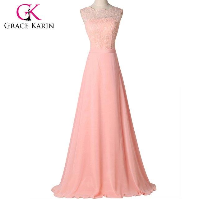 Grace karin bonito longo light pink chiffon prom vestidos vestido formal elegante jantar dress galajurken 2017 gk7537