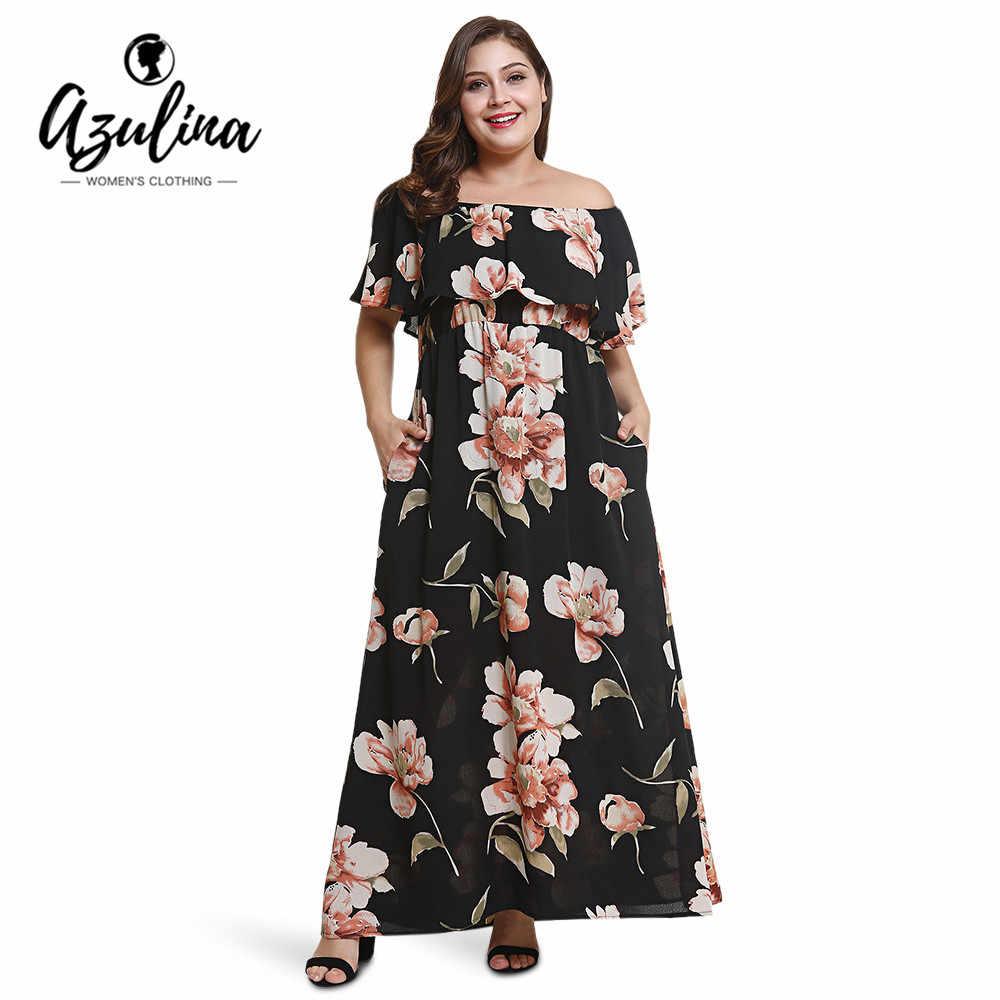 AZULINA Plus Size Floral Print Maxi Dress Women Off Shoulder Short Sleeves  Ruffles Pocket Dresses Bohemian 36609a4b9aa1