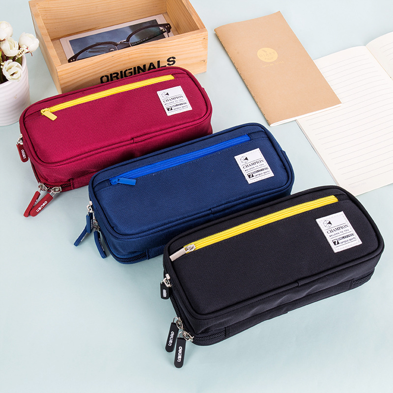 Multifunction Canvas Pencil case for school office Supplies cute Stationery Storage bag Gift Pencil Bag School Case pencil pouch purple stripe color stitching round neck long sleeves t shirt