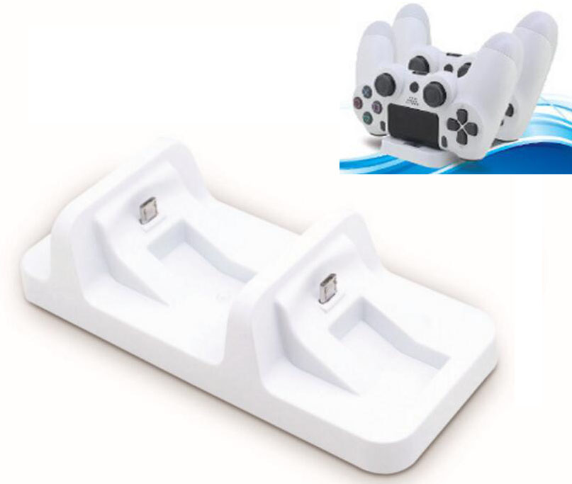 White <font><b>Dual</b></font> Charging Dock for <font><b>PS4</b></font> P4 Wireless Controller <font><b>Charger</b></font> Stand Holder Support For Sony Playstation 4 <font><b>PS4</b></font> Slim <font><b>PS4</b></font> Pro