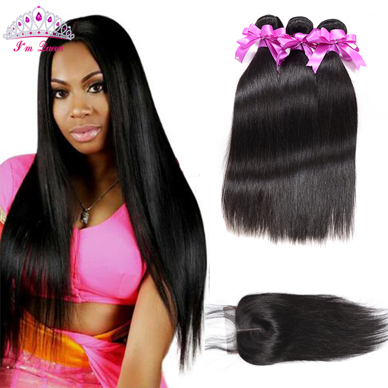 7A Peruvian Virgin Hair With Closure 3PCS Peruvian Virgin Hair Straight With Closure Peruvian Hair Straight With Lace Closure