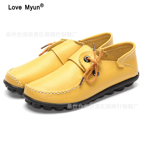 Autumn New Style Cow Leather Women's Casual Shoes Moccasins Female Flats Shoe Lace-Up Woman Loafers Driving Shoe Size 35-43 guvoosm new autumn full genuine leather women flats female lace up loafers casual handmade rubber shoes woman big size 36 43