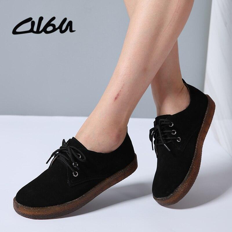 O16U Women Flats Shoes   Suede     Leather   Laces Ladies Ballet Shoes Cow Muscle sole Women Casual Bassic Shoes Black Brown Autumn 2017