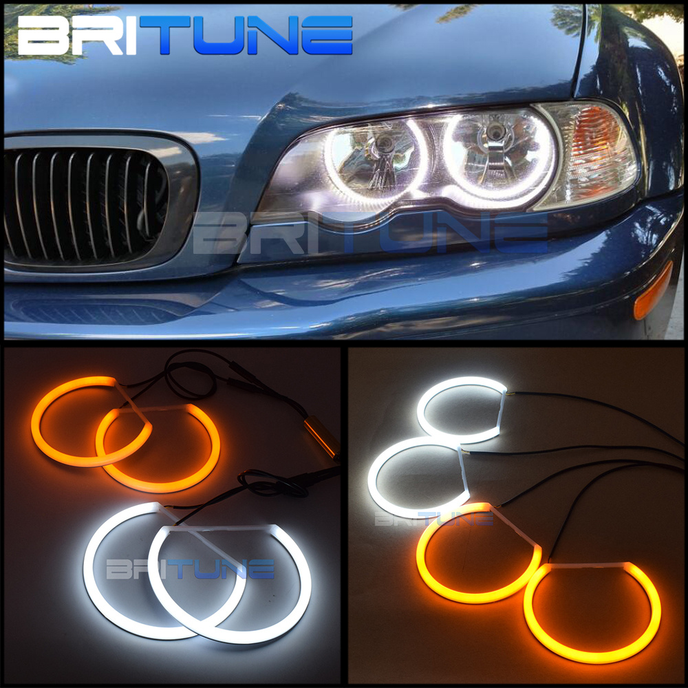 Switchback Dual Color Cotton Light SMD LED Angel Eyes DRL Halo Rings For BMW E46 Non-Projector Headlight Retrofit 131mm +146mm