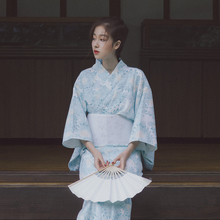 Print Floral Elegant Women Robe Traditional Kimono Gown Japanese Yukata With Obi Novelty Halloween Cosplay Costume Girl Dress