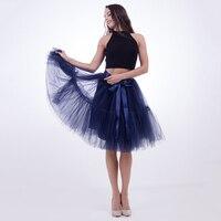 5 Schichten Tüll und Satin Bogen Elastische Hohe Taille Knie-Länge Flauschigen Pettiskirt Ballettröckchen Rock Lolita Petticoat Partei Röcke für Frau