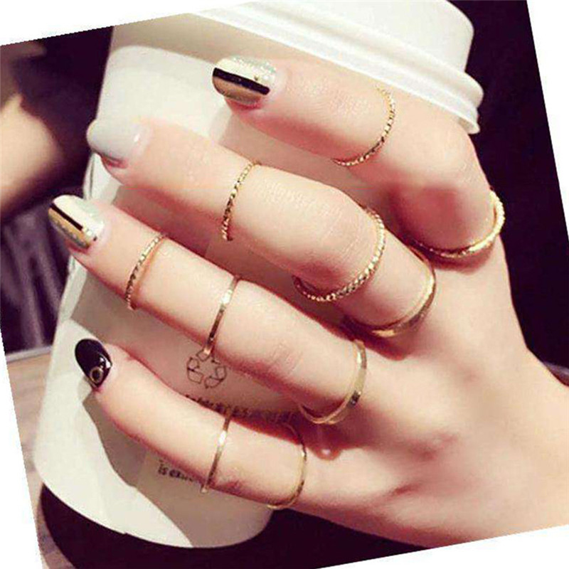 TTLIFE 10PCS Set Fashion Simple Design Knuckle Ring Vintage Gold Color Joint Rings Sets for Women Party Jewelry 2019 in Rings from Jewelry Accessories