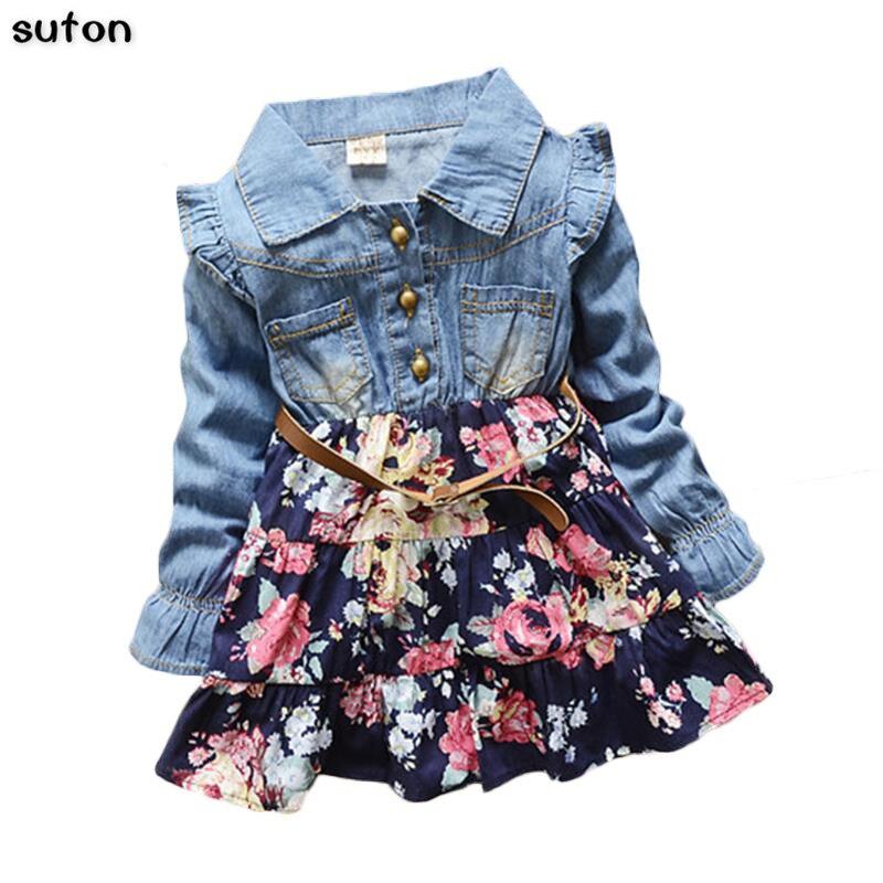 2018 Summer Autumn new baby Girls dress denim patchwork sweet flower print princess dress floral cozy Long Sleeve Kids clothing