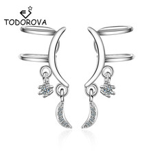 Todorova Korean Style Cubic Zircon Moon Clip on Earrings Without Piercing for Girls Wedding Party Jewelry Sweet No Hole Ear