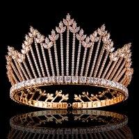 Hot Sale Cubic Zirconia Wedding Bridal Bridesmaid Tiara Crown Headband Gold Color Crystal Rhinestone Party Jewelry
