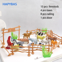 15pcs/pack Farm Animals Toys  2 Animal cow dog sheep goose Family Poultry Feed Fence Simulation Model toy for Children