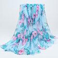 New Fashion Bohemian Beach Voile Soft Long Scarf Women Beautiful flowers Printed Wrap Shawl Stole Scarves 017