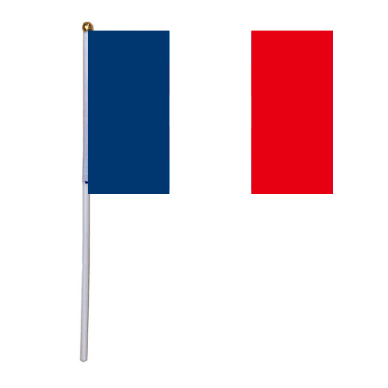 free shipping xvggdg 100pcs 14 21cm french hand flag Promotion Wholesale Small France Hand Waving National Flag in Flags Banners Accessories from Home Garden