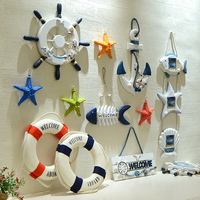 Creative European Sea World Household Wall Hanging Decoration Mediterranean Style 3D Starfish Rudder Anchor Buoy Marine Fish