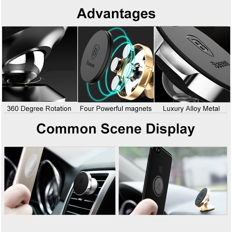 Image 5 - Baseus Magnetic Car Holder For Phone Universal Holder Mobile Cell Phone Holder Stand For Car Air Vent Mount GPS Car Phone Holder-in Phone Holders & Stands from Cellphones & Telecommunications