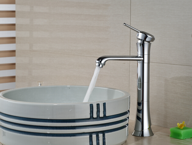 Free Shipping Deck Mounted Heighte Bathroom Basin Faucet Sink Mixer Single Handle
