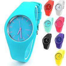 Super thin geneva silicone watch unisex rubber jelly candy women men quartz watches fashion leisure dress watches hot wholesale
