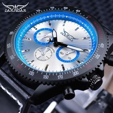 Jaragar Sport Racing Design Black Genuine Leather Blue 3 Dial Army Mechanical Mens Automatic Wrist Watch Top Brand Luxury Clock