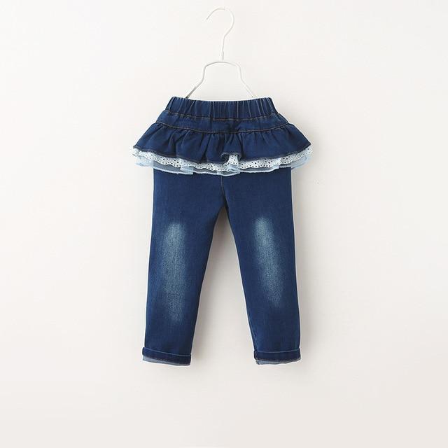 Джинсы новая коллекция весна осень цветочный детская одежда новорожденных девочек дети кружева брюки новой корейской версии 6 шт./лот